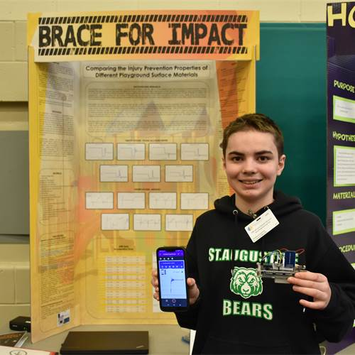 "In ""Brace For Impact,"" Grade 8 St. Augustine student Tavian Augustus studied different playground surfaces to see which best prevented injuries from playground falls."